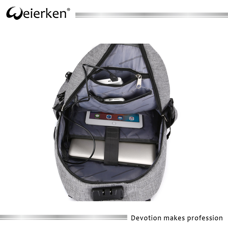 2017 grey waterproof polyester laptop backpack with USB charging port and lock fits
