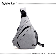 Wholesale One Shoulder Triangle Sports Single Strap Backpack For Men USB Port