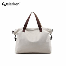 Easy Cleaning High Quality Canvas Tote Bag Leather Handle