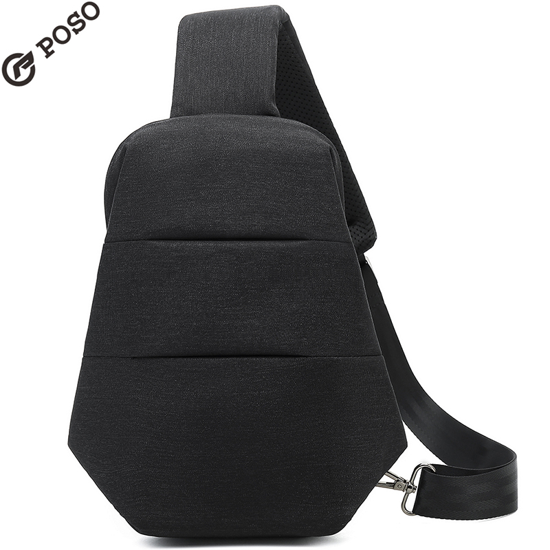 Black Simple design Poso casual sling bag for tablet