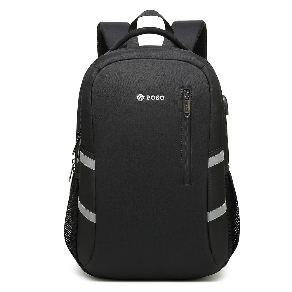 Black big capacity USB port laptop backpack for men